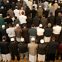 London, UK - 20 July 2012: more than 6500 Muslim faithful gathers in the East London Mosque to celebrate the first day of Ramadan.