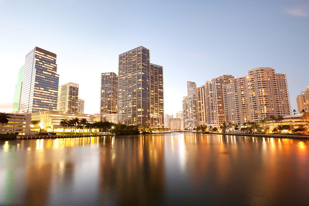 Downtown and real estates developments at Brickell Key, Miami, Florida, USA