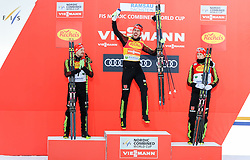17.12.2016, Nordische Arena, Ramsau, AUT, FIS Weltcup Nordische Kombination, Siegerehrung, im Bild Fabian Riessle (GER, 2. Platz), Sieger Johannes Rydzek (GER), Eric Frenzel (GER, 3. Platz) // 2nd placed Fabian Riessle of Germany, Winner Johannes Rydzek of Germany, 3rd placed Eric Frenzel of Germany during Winner Award Ceremony of FIS Nordic Combined World Cup, at the Nordic Arena in Ramsau, Austria on 2016/12/17. EXPA Pictures © 2016, PhotoCredit: EXPA/ Martin Huber