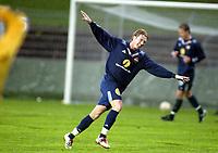 Fotball, 13. mai 2003, NM fotball herrer, Strømsgodset-Bærum, Paal Christian Alsaker, Strømsgodset, julber etter scoring