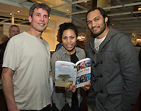 "Liam Cullinane with Sene and George Naoupu at the launch of Ronan Scully's New book ""Time Out"" An Innovative collaboration of words, reflections and stories of goodness, tenderness and positivity for all our lives combine to great effect in this new publication published by Ballpoint Press in aid of Self Help Africa and `The Irish Guide dogs for the Blind  at Hotel Meyrick in Galway. Picture:Andrew Downes"