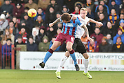 Darius Henderson of Scunthorpe United heads ball clear during the Sky Bet League 1 match between Scunthorpe United and Bradford City at Glanford Park, Scunthorpe, England on 21 November 2015. Photo by Ian Lyall.