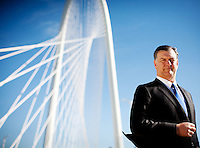 Dallas Mayor Mike Rawlings photographed on the Margaret Hunt Hill Bridge in Dallas, Texas.