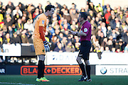 Burton Albion goalkeeper Jon McLaughlin (1) discusses incident and foul with referee Keith Stroud during the EFL Sky Bet Championship match between Burton Albion and Wolverhampton Wanderers at the Pirelli Stadium, Burton upon Trent, England on 4 February 2017. Photo by Richard Holmes.