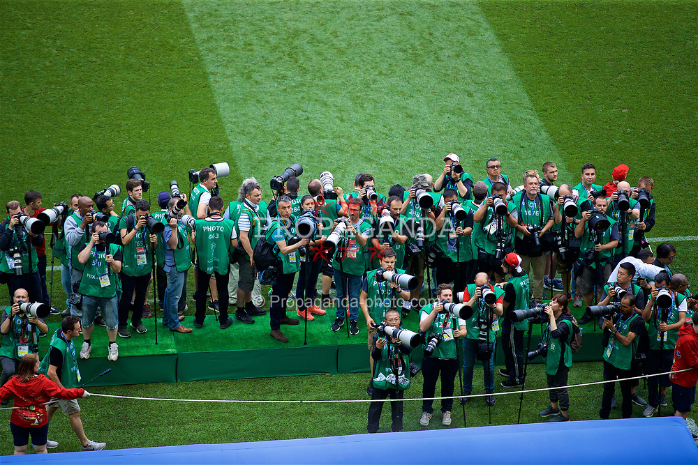 MOSCOW, RUSSIA - Sunday, July 1, 2018: Photographers during the FIFA World Cup Russia 2018 Round of 16 match between Spain and Russia at the Luzhniki Stadium. (Pic by David Rawcliffe/Propaganda)