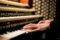 """25 November, 2008. New York, NY. Bruce Neswick, the director of music of the Cathedral of St. John the Divine, tests the """"new"""" organ. The organ at the Cathedral of St. John the Divine, heavily damaged in a fire in 2001, has been rebuilt. The organ has been tuned for the last couple of weeks.  ©2008 Gianni Cipriano for The New York Times<br /> cell. +1 646 465 2168 (USA)<br /> cell. +1 328 567 7923 (Italy)<br /> gianni@giannicipriano.com<br /> www.giannicipriano.com"""