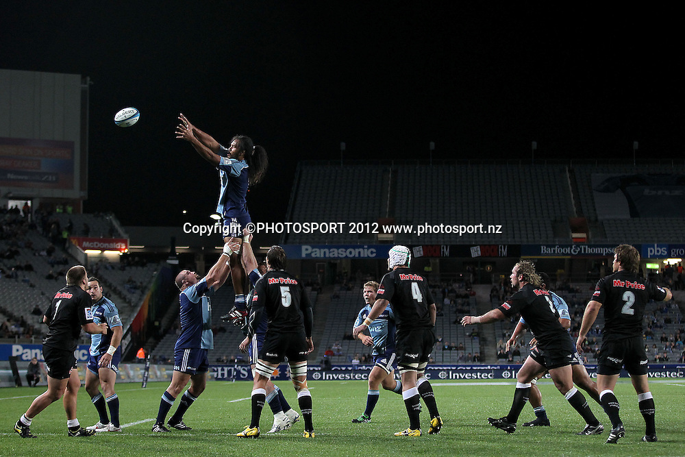 Blues' Liaki Moli takes the lineout ball. Super Rugby rugby union match, Blues v Sharks at Eden Park, Auckland, New Zealand. Friday 13th April 2012. Photo: Anthony Au-Yeung / photosport.co.nz