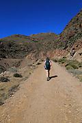 Woman walking along coast path in Cabo de Gata national park, near San José, Almeria, Spain