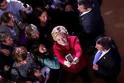 Democratic presidential nominee Hillary Clinton greets voters after an October 4, 2016 Family Town Hall event in Haverford, Pennsylvania, USA.