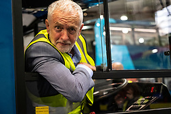 "Falkirk, Scotland, UK; 20 August, 2018. Labour Leader Jeremy Corbyn and Scottish Labour Leader Richard Leonard visit Alexander Denis bus manufacturers in Falkirk as part of Labour's ""Build it in Britain"" policy."