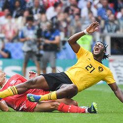 Michy Batshuayi of Belgium is tackle by Yohan Benalouane of Tunisia during the FIFA World Cup Group G match between Belgium and Tunisia at Spartak Stadium on June 23, 2018 in Moscow, Russia. (Photo by Anthony Dibon/Icon Sport)