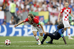 (L-R) Luka Modric of Croatia, Ngolo Kante of France during the 2018 FIFA World Cup Russia Final match between France and Croatia at the Luzhniki Stadium on July 15, 2018 in Moscow, Russia
