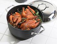 Cornish hens in pan