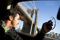 31 October, 2008. New York, NY. Spanish matador David Fandila, 27, is here in the car that drives to the Manhattan Heliport at Pier 6, where he will go for an helicopter tour of Manhattan. David Fandila, better known in Spain and in the bullfighting world as &quot;El Fandi&quot;, came to New York for the premiere of  &ldquo;The Matador,&rdquo; a documentary about him (released by City Lights). Him and his brother Juan Alvaro (his manager), 31, convinced by their friend Carlos Gil, will partecipate at the New York City Marathon on Sunday, November 2nd. El Fandi began as a matador in 2000 and is now one of the most skilled matadors in the world. <br /> <br /> &copy;2008 Gianni Cipriano for The New York Times<br /> cell. +1 646 465 2168 (USA)<br /> cell. +1 328 567 7923 (Italy)<br /> gianni@giannicipriano.com<br /> www.giannicipriano.com