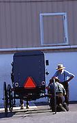 Amish buggy, men, repair, Lancaster Co. PA