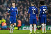 Chelsea midfielder Jorginho (5) celebrates his penalty during the EFL Cup semi final second leg match between Chelsea and Tottenham Hotspur at Stamford Bridge, London, England on 24 January 2019.
