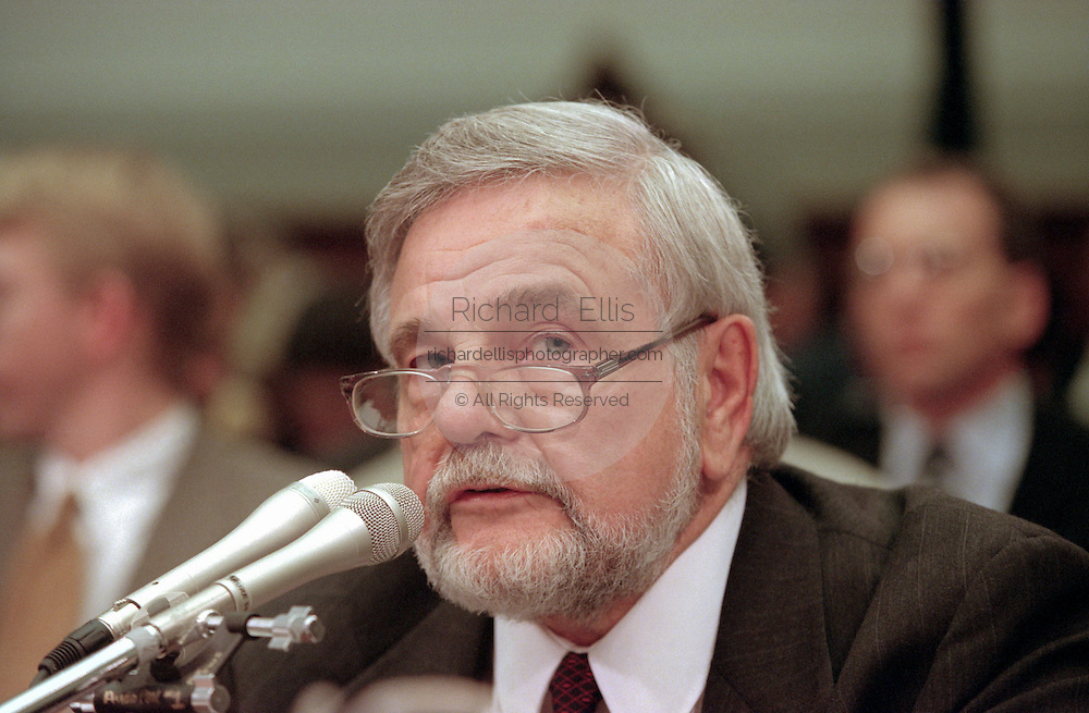 Republican chief investigative counsel David Schippers  during House Judiciary Committee hearings on whether impeachment proceedings should begin against President Bill Clinton October 5, 1998 in Washington, DC. This is only the third time in US history that impeachment proceedings against a President have been brought to the House committee.