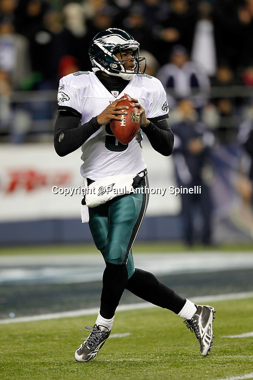Philadelphia Eagles quarterback Vince Young (9) drops back to throw a pass during the NFL week 13 football game against the Seattle Seahawks on Thursday, December 1, 2011 in Seattle, Washington. The Seahawks won the game 31-14. ©Paul Anthony Spinelli