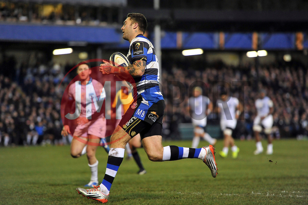 Matt Banahan of Bath Rugby runs in his first try of the night - Photo mandatory by-line: Patrick Khachfe/JMP - Mobile: 07966 386802 12/12/2014 - SPORT - RUGBY UNION - Bath - The Recreation Ground - Bath Rugby v Montpellier - European Rugby Champions Cup