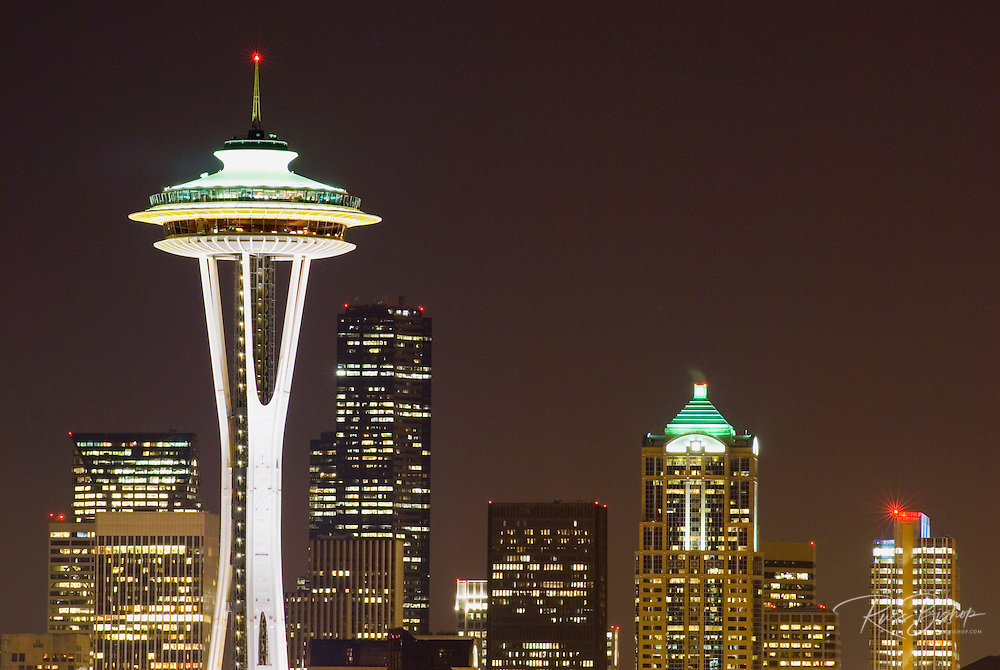 The Space Needle and downtown buildings at night, Seattle, Washington