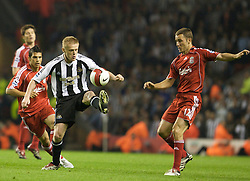 LIVERPOOL, ENGLAND - WEDNESDAY, SEPTEMBER 20th, 2006: Liverpool's Fabio Aurelio and Newcastle United's Damien Duff during the Premiership match at Anfield. (Pic by David Rawcliffe/Propaganda)