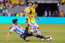 September 11, 2018 - East Rutherford, NJ, U.S. - EAST RUTHERFORD, NJ - SEPTEMBER 11: Argentina midfielder Franco Cervi (24) steals the ball away from Colombia midfielder Nicolas Benedetti (21) during the second half of the International Friendly Soccer match between Argentina and Colombia on September 11, 2018 at MetLife Stadium in East Rutherford, NJ. (Photo by John Jones/Icon Sportswire) (Credit Image: © John Jones/Icon SMI via ZUMA Press)