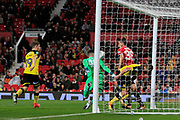 A break down in communication between Manchester United goalkeeper Joel Pereira (40) and Manchester United defender Matteo Darmian (36) allows Burton Albion midfielder Lloyd Dyer (11) to score and make the score 4-1 during the EFL Cup match between Manchester United and Burton Albion at Old Trafford, Manchester, England on 19 September 2017. Photo by Richard Holmes.