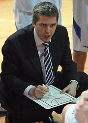 Coach of Helios Domzale Zoran Martic at basketball game Geoplin Slovan - Helios Domzale in in the second match of quarter-final of Spar Cup, on February 7, 2008 in Ljubljana, Slovenia.   (Photo by Vid Ponikvar / Sportal Images).