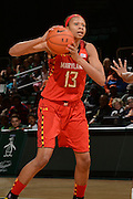 February 13, 2014: Alicia DeVaughn #13 of Maryland in action during the NCAA basketball game between the Miami Hurricanes and the Maryland Terrapins at the Bank United Center in Coral Gables, FL. The Terrapins defeated the Hurricanes 67-52.