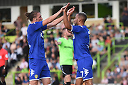 Leeds United's Kemar Roofe(7) scores a goal 0-1 and celebrates during the Pre-Season Friendly match between Forest Green Rovers and Leeds United at the New Lawn, Forest Green, United Kingdom on 17 July 2018. Picture by Alan Franklin.