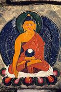 Painted Buddha on a Tashiding monastery's stone