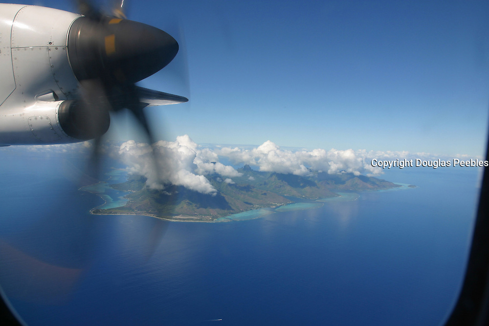 Moorea from airplane, French Polynesia<br />