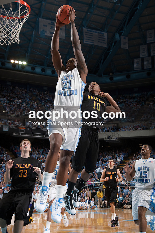 30 December 2009: North Carolina Tar Heels forward Deon Thompson (21) during a 70-87 win over the Albany Great Danes at the Dean E. Smith Center in Chapel Hill, NC.