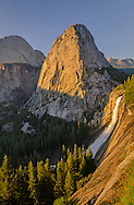 Sunset light on Liberty Cap and Nevada Fall along the Grand Staircase of the Merced River, Yosemite National Park, California