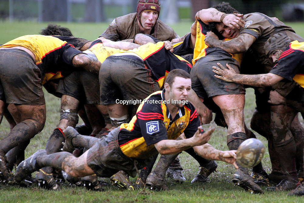 Thames Valley Halfback Aaron McDonald clears the ball in NPC 2nd Division Match between Thames Valley and North Otago on 7th August 2004.<br />Photo: Photosport