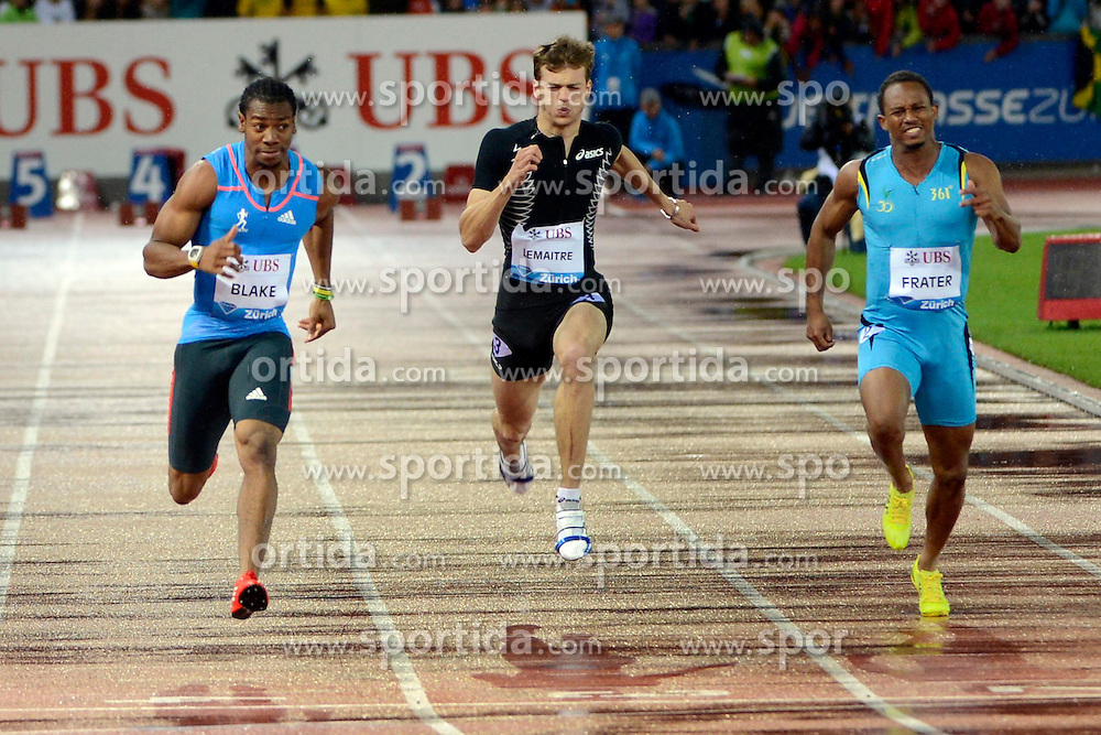 30.08.2012, Stadion Letzigrund, Zuerich, SUI, Leichtathletik, Weltklasse Zurich 2012, im Bild, Yohan Blake (L, JAM), Christophe Lemaitre (M, FRA) und Michael Frater (R, JAM), 100m Maenner // during Athletics World Class Zurich 2012 at Letzigrund Stadium, Zurich, Switzerland on 2012/08/30. EXPA Pictures © 2012, PhotoCredit: EXPA/ Freshfocus/ Andy Mueller..***** ATTENTION - for AUT, SLO, CRO, SRB, BIH only *****