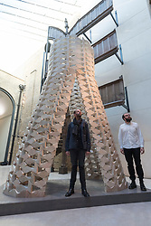 "© Licensed to London News Pictures. 15/09/2017. London, UK. Palestinian architects Elias and Yousef Anastas present their work called ""While We Wait"" at the V&A museum in Kensington.  This work forms part of the London Design Festival, a programme of events and installations celebrating design taking place across the capital 16-24 September 2017.  Photo credit : Stephen Chung/LNP"