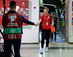 TBILSI, GEORGIA - Friday, October 6, 2017: Wales' James Chester arrives before the 2018 FIFA World Cup Qualifying Group D match between Georgia and Wales at the Boris Paichadze Dinamo Arena. (Pic by David Rawcliffe/Propaganda)