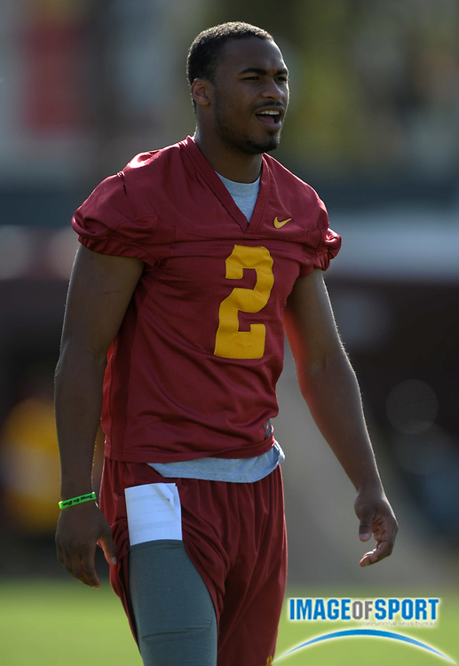 Apr 5, 2012; Los Angeles, CA, USA; Southern California Trojans receiver Robert Woods (2) at spring practice at Howard Jones Field.