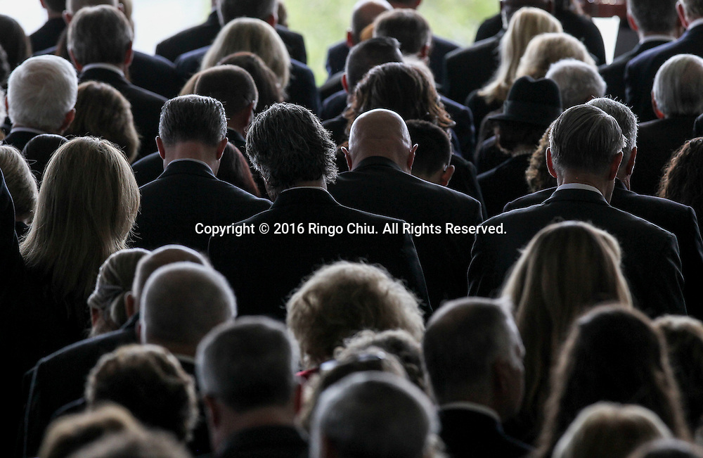 Guests pray during a funeral service for the former first lady Nancy Reagan at the Ronald Reagan Presidential Library and Museum in Simi Valley, California on March 11, 2016. Reagan died of congestive heart failure in her sleep at her Bel Air home Sunday at age 94. A bout 1,000 guests from the world of politics attended the final farewell to Nancy Reagan as the former first lady is eulogized and laid to rest next to her husband at his presidential library.<br />    (Photo by Ringo Chiu/PHOTOFORMULA.com)<br /> <br /> Usage Notes: This content is intended for editorial use only. For other uses, additional clearances may be required.