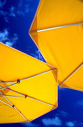 Yellow umbrellas with blue sky background, taken at Elbow Beach, Bermuda.