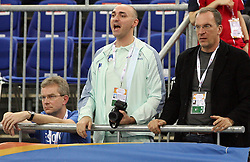 Slovenian coaches Matija Sestak and Srdjan Djordjevic at the 1st day of  European Athletics Indoor Championships Torino 2009 (6th - 8th March), at Oval Lingotto Stadium,  Torino, Italy, on March 6, 2009. (Photo by Vid Ponikvar / Sportida)