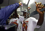 1998 NBA Finals ---Michael Jordan in the locker room after the Bulls win over the Jazz to win their 6th NBA title.