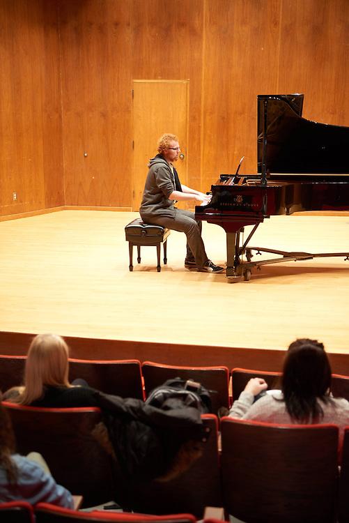 -UWL UW-L UW-La Crosse University of Wisconsin-La Crosse; Candid; Center for the ArtsCFA; Classroom; day; December; Inside; Man men; Music; Piano; Student students