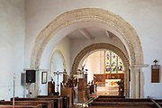 Village parish church All Saints, Eyke, Suffolk, England, UK Norman arches in centre of building