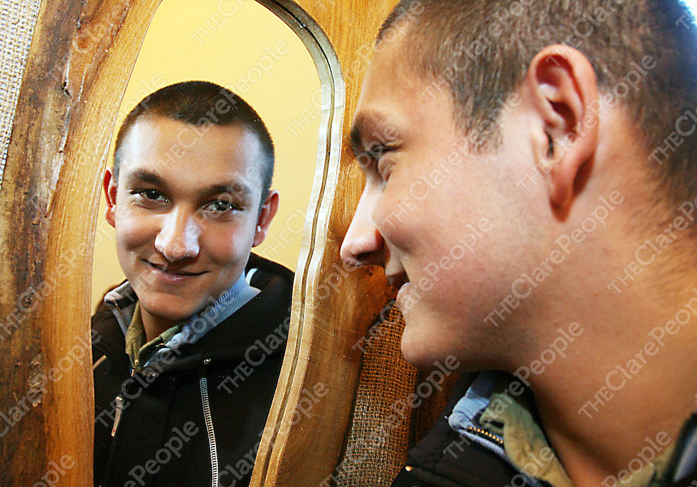 Rabek Tiser shows off some his hand made mirrors at a Craft Fair in the Clare Youth Service Centre in Ennis on Friday.<br />