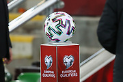 The match ball awaits the arrival of the teams ahead of the UEFA European 2020 Qualifier match between Northern Ireland and Netherlands at National Football Stadium, Windsor Park, Northern Ireland on 16 November 2019.