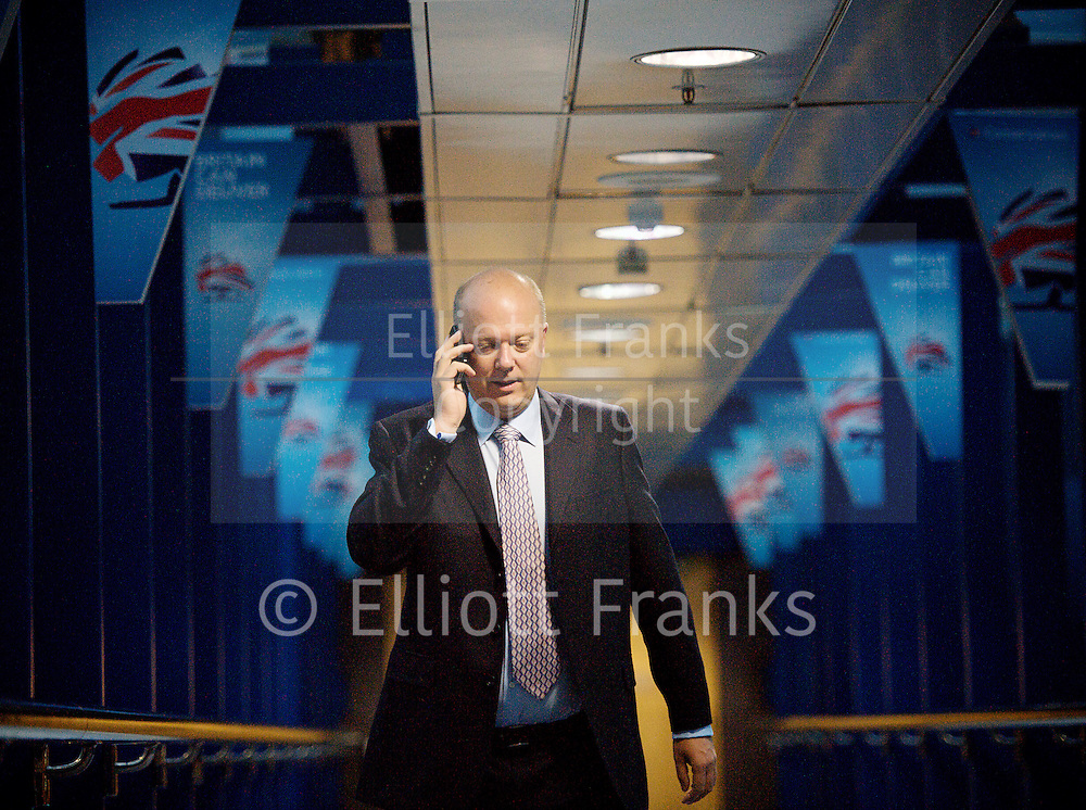 Conservative Party Conference, ICC, Birmingham, Great Britain <br /> Day 4<br /> 9th October 2012 <br /> <br /> Rt Hon Chris Grayling MP<br /> Justice Secretary <br /> walking into the conference centre <br />  <br /> <br /> <br /> Photograph by Elliott Franks<br /> <br /> United Kingdom<br /> Tel 07802 537 220 <br /> elliott@elliottfranks.com<br /> <br /> ©2012 Elliott Franks<br /> Agency space rates apply