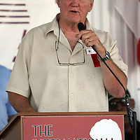 "Chuck Wepner, the real ""Rocky"", speaks to fans during the 23rd Annual induction weekend opening ceremony at the International Boxing Hall of Fame on Thursday, June 7, 2012 in Canastota, NY. (AP Photo/Alex Menendez)"