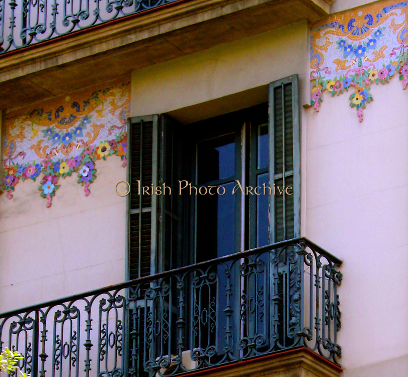 Balcony on Traditionally Decorated Spanish Building 2013